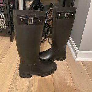 YSL black festival rubber boots